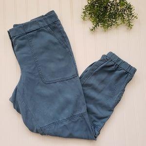 Loft Blue Lyocell Ankle Zip Jogger Pants size 8